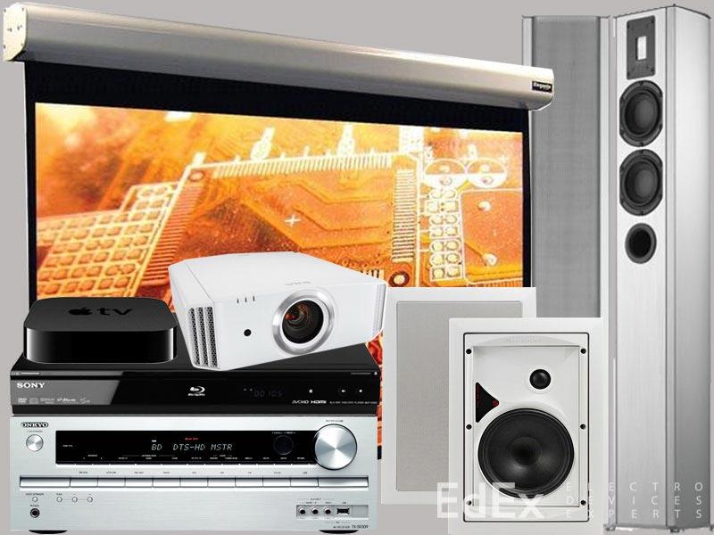 Оборудование для домашнего кинотеатра в гостиной уровня Hi-Fi - среднего ценового диапазона.